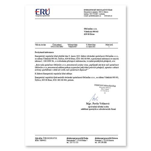 Šetříme občanům potvrzení ERÚ